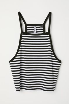 H&M Short Camisole Top - Black/white striped - Women Summer Outfits For Teens, Cute Teen Outfits, Teenager Outfits, Cool Outfits, Tween Fashion, Teen Fashion Outfits, Denim Fashion, Cute Tank Tops, Nice Tops