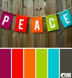 Color Palette, peace, magenta, red, orange, green, blue.