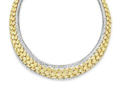 A COLORED DIAMOND AND DIAMOND NECKLACE, BY DAVID MORRIS   Designed as an oval and pear-shaped yellow diamond band with square-cut diamond trim, mounted in platinum and gold, 14 ins., in a David Morris beige leather case  Signed David Morris