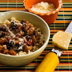 Recipe for Mushroom, White Bean, and Tomato Stew with Parmesan from Kalyn's Kitchen  #LowGlycemicRecipe