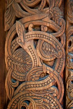 Detail of a Norse dragon from the stave church on display at Norsk Folkemuseum, Oslo (Norway)