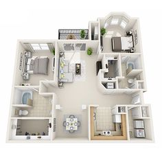 3 Bedroom Apartment/House Plans 3 bedroom house layouts: center bedroom to be a large study space so Apartment Layout, 3 Bedroom Apartment, Two Bedroom Apartments, Apartment Design, 3 Bedroom House, Luxury Apartments, Small Apartments, Layouts Casa, House Layouts