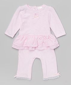 Love this Tots Fifth Avenue Pink Ruffle Romper - Infant by Tots Fifth Avenue on #zulily! #zulilyfinds