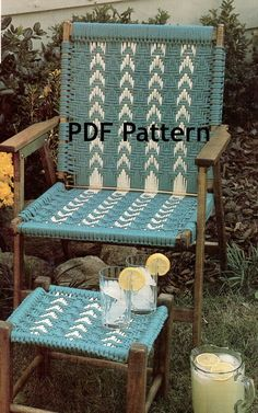 Hippie Macramé Chair and Footstool Vintage 1980's