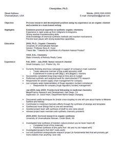 Entry Level Chemistry And Resume On Pinterest Senior Chemist Sample