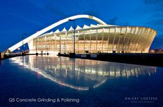 Ground & Polished concrete floors done by QS Concrete Grinding & Polishing at Moses Mabhida Stadium.   Photography by Nicky Coetzee