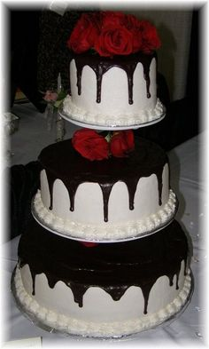Modern Black Red White Round Wedding Cake     Looks delicious.