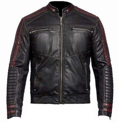 New Arrival: Mens Cafe Racer 2 Biker Jacket Real Leather exclusively available on our online store with reasonable price easy payment fast delivery. This Jacket is made in real leather with maroon stripes vet look smart fitting for motorcycle lover its a very fantastic slim fit jacket that makes your personality like a celebrity.Each moment with joyful and flexible to wear this and enjoy with ride street boys lovers must buy this jacket because wheres come fashion first.