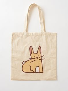 Funny Bunny Illustration Tote Bag by kerstin-ebner Printed Tote Bags, Cotton Tote Bags, Reusable Tote Bags, Cartoon Rabbit, Cap Ideas, Funny Bunnies, Digital Prints, Shopping Bag, Cotton Fabric