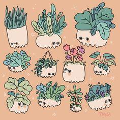62 Ideas For Plants Doodle Monstera Pretty Art, Cute Art, Animal Drawings, Cute Drawings, Character Art, Character Design, Cute Doodles, Kawaii Art, Creature Design