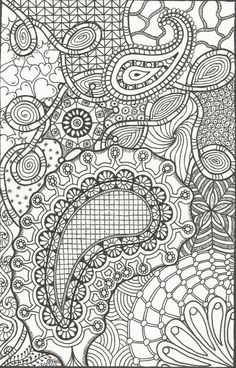 Abstract Doodle Zentangle ZenDoodle Paisley Coloring Pages Colouring Adult