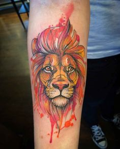 arm watercolor tattoo lion