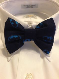 blue BATMAN logo Print Bowtie / Bow Tie by 2Marys on Etsy, $10.00