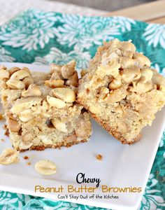 Chewy Peanut Butter Brownies - Can't Stay Out of the Kitchen Peanut Butter Brownies, Peanut Butter Chips, Peanut Butter Recipes, Cookie Cake Pie, Cookie Brownie Bars, Candy Cookies, Bar Cookies, Cookie Recipes, Dessert Recipes