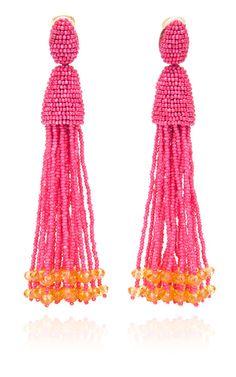 Shop New Long Beaded Tassel Earrings by Oscar de la Renta Now Available on Moda Operandi