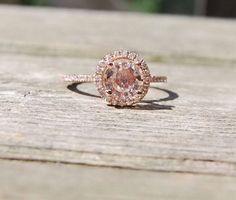 peach sapphire halo