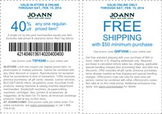 Pinned February 10th: 40% off a single item at Jo-#Ann Fabric, or online via promo code TSFK046 #coupon via The Coupons App