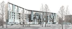 Edificio residenziale nel Quartiere Töölö - Progetto finalista del concorso a inviti - Taivallahti, Helsinki, Finlandia - 2006