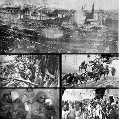 Caucasus Campaign;Top: Destruction in the city of Erzurum; Left Upper: Russian forces; Left Lower: Wounded Muslim refugees; Right Upper: Ottoman forces; Right Lower: Armenian refugees