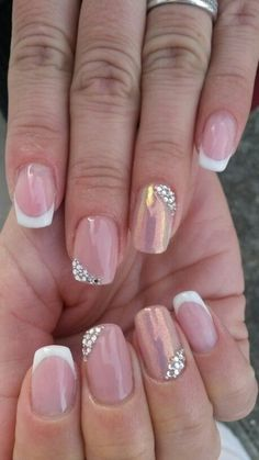 French nails with swarovski elements and mermaid effect. Made by me - Best Nail Art Gel French Manicure, French Nail Art, Gel Manicure, French Manicures, Pedicure, French Nail Design, Bridal Nails, Wedding Nails, Hot Nails