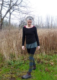 Organic Clothing - Striped Leg Warmers - Organic Merino Wool - Shown in Olive and Slate - Made to Order