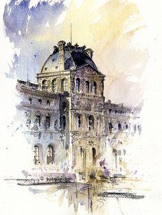 Tony Belobrajdic   WATERCOLOR Louvre