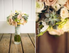 details of a cream, champagne and sea glass bouquet