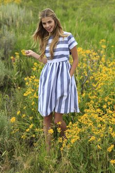 KAI Dress Navy and white striped from the Fall Collection by Shabby Apple