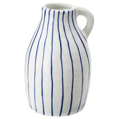 IKEA - GODTAGBAR, Vase, ceramic white/blue, GODTAGBAR collection is inspired by classic Scandinavian vase forms. each vase has a unique expression. Use the vase with flowers or alone, as a beautiful object in its own right.