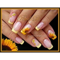 Sunflowers Nail Art Gallery ❤ liked on Polyvore featuring nails
