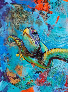 Green Sea Turtle  Ocean Traveler  Canvas Art by CorinaStMartinArt, $36.00