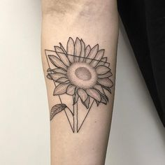Sunflower tattoo by Michele Volpi