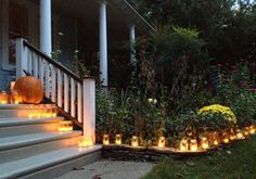 Tea lights, votive candles, mason ball jars, luminary, holiday decorations, porch and exterior décor ideas.  http://victoriaelizabethbarnes.com/2012/10/28/easy-inexpensive-front-porch-decor-that-works-for-any-holiday-repurposing-household-items/#