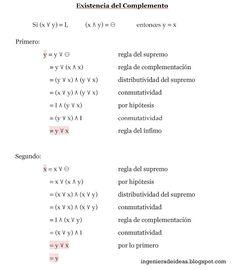 Demostraciones de la existencia del complemento haciendo uso de las algebras booleanas