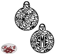 Floral Christmas Ornament Monogram by RedEorKnot on Etsy https://www.etsy.com/listing/253667171/floral-christmas-ornament-monogram