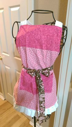 Reversible Pink Apron With Butterflies, White Ruffle, Pink and Brown Paisley Tie by TheStitchinCorner on Etsy