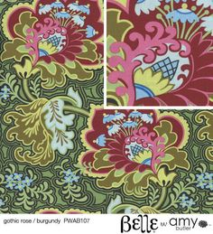 BELLE Amy Butler Fabric 1 Yard Gothic Rose Burgandy  by loveyduds