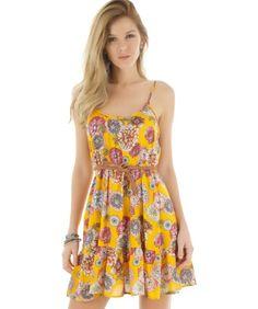 Vestido estampado floral amarelo