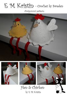 Amigurumi monsters: Hen & Chicken by EMKristin - Crochet by Sweden   9 pages including; pattern, instructions and pictures  This pattern can be made