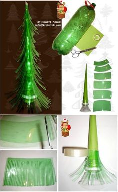Plastic Bottle Tree - 20 Genius DIY Recycled and Repurposed Christmas Crafts Recycled Christmas Decorations, Recycled Christmas Tree, Xmas Decorations, Christmas Diy, Modern Christmas, Plastic Christmas Tree, Crafts From Recycled Materials, Recycled Decor, Upcycled Crafts
