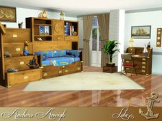 Everybody wants to have a cool bedroom, especially kids. And when it comes to sea or pirate- like themes this teen room is n excellent choice. Found in TSR Category 'Sims 3 Kids Bedroom Sets' 3 Kids Bedroom, Kids Room, Sims 3 Rooms, My Sims, Sims Cc, Sims House, Awesome Bedrooms, Anchors, Furniture