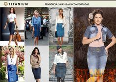 As saias jeans comportadas estão na moda? você é adepta delas? Então veja alguns looks das fashionistas e um dos lançamentos da Titanium Jeans para o inverno 2013.
