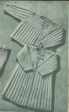 PDF Knitting Pattern, 3Ply, Baby Wrapper & Sacque Coat