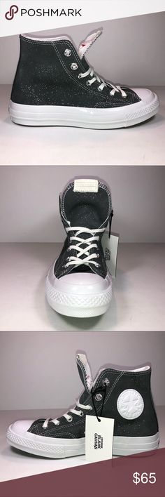 558aec6ce73ef1 Converse CTAs Hi Blank Canvas Sparkle Suede Shoes New With Damaged Box  Missing Lid See Pictures