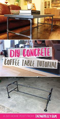 DIY Concrete Coffee Table | tazandbelly.com