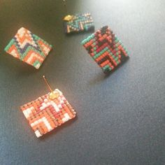Colors stud earrings colorful african native by FiaAccessories ハンドメイド ピアス アクセサリー トライバル アフリカン ネイティブアメリカン ネイティブインディアン ビーズ