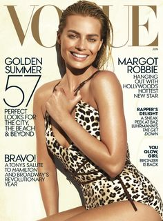 Margot Robbie Wears a Sexy Swimsuit for 'Vogue' June Cover!: Photo Margot Robbie looks stunning in a leopard-print swimsuit while posing on the cover of Vogue's June 2016 issue, on newsstands May Here is what the Margot Robbie Hot, Margo Robbie, Actress Margot Robbie, Margot Robbie Harley Quinn, Margaret Robbie, Vogue Magazine Covers, Fashion Magazine Cover, Fashion Cover, Vogue Covers