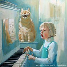Maria Pavlova Cat Paintings-The duo, 2010