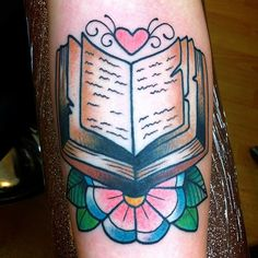 book & flower tattoo by Alex Strangler.. love love love her work!!