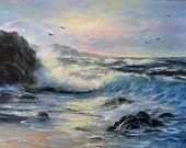 Light Blue Sea Original Seascape Oil Painting Vickie Wade art, seascape paintings, ocean oil paintings